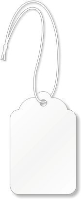 Merchandise Tags, White #8 (2-7/8'' x 1-3/4''), Hole-with String - Box of 1,000 Tags