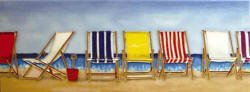 Beach Scene Tile (Deck Chair Lounging Beach Scene a Benaya ceramic art tile coasters as if they are alive with detail bold colours a perfect decorative wall tile gift purchase)