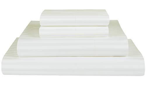 1 Set Mattress (Threadmill Home Linen 600 Thread Count 100% ELS Cotton Sheets 1cm Damask Stripe 4 Piece Bedsheet Set Fits Mattresses up to 18