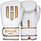 Hawk Boxing Leather Boxing Gloves Gel Training Gloves Bag Gloves Muay thai UFC Gloves, 1 YEAR WARRANTY!!!! (White, 14oz)
