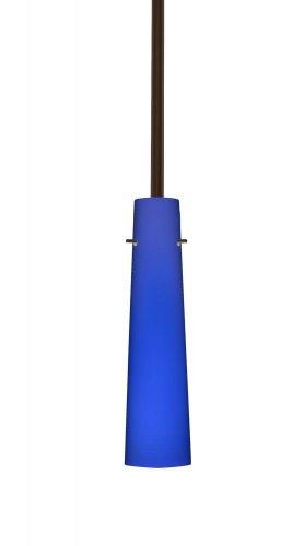 - Besa Lighting 1TT-5674CM-BR 1X50W E12 Camino Pendant with Cobalt Blue Matte Glass, Bronze Finish