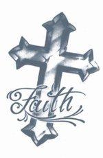 Tinsley Transfers Faith Cross Prison Temporary Tattoo]()