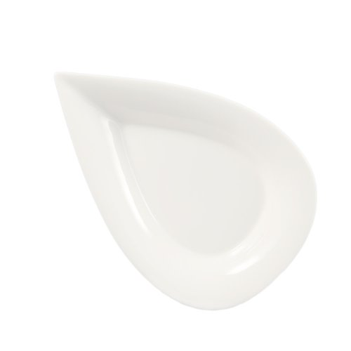 - CAC China DOT-12 Porcelain Pear Shape Plate, 12 by 8 by 1-1/2-Inch, Super White, Box of 12
