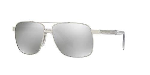 Versace Mens Sunglasses (VE2174) Silver/Silver Metal,Acetate,Steel - Non-Polarized - 59mm (Versace Sonnenbrillen Shop)