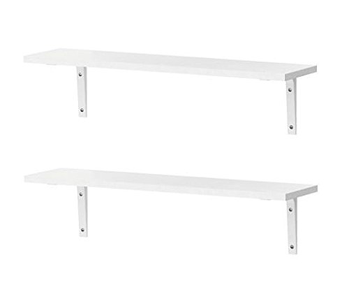 IKEA Shelving EKBY Osten Wall Shelves With Wall Mounts [2 PACK AND 4 MOUNTS] [All White] For Kitchen, Dining Room, Living Room, Bedroom Storage by Ekby Osten and Stodis