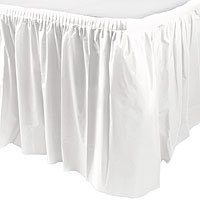 Amscan Plastic Table Skirt | Frosty White | 14' x 29