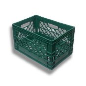 Rectangular Stackable Plastic Milk Crate 19x13x11 Green