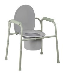 McKesson Drive Commode Chair Fixed Arm Steel Frame Steel Back Bar / Removable / Seat Lid Back 16 to 21.75
