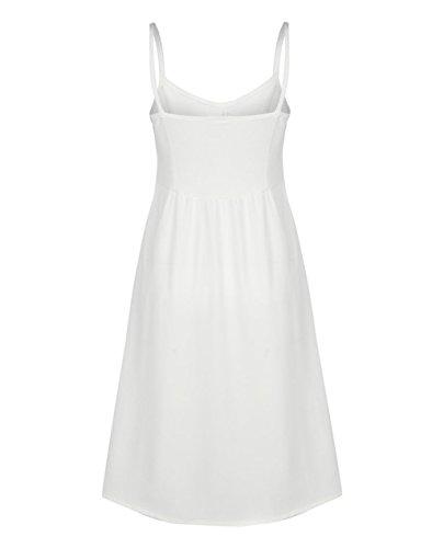 Canrulo Spaghetti Des Femmes De Sangle Longue Robe De Cocktail Midi Soirée Dresse Blanc Robe D'été