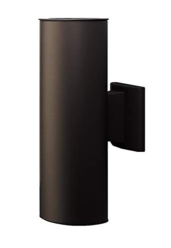 NICOR Lighting 12-Inch Outdoor Cylinder Wall Sconce Up and Down Bullet Light, Architectural Bronze (50102BA)