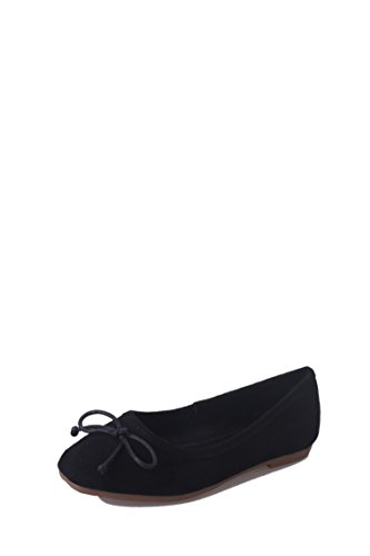 LEIT Women's Casual Single Shoes Square Head Bow Tie Flat Suede Black BHlD49lC