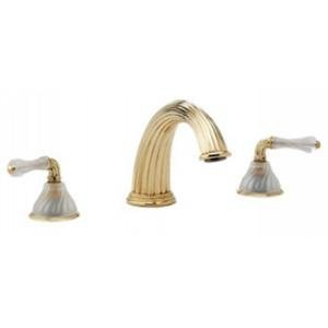 Phylrich K1234P_OEB - Mirabella Deck Mounted Tub Set Frosted Crystal Handles