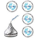 108 Its A Boy Blue Footprints Baby Shower Party Kisses Labels Favors Stickers -