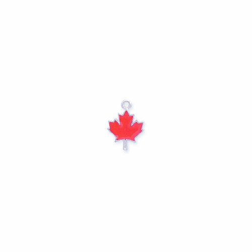Shipwreck Beads Pewter Epoxy Maple Leaf Pendant, Red/Silver, 14 by 19mm, 2-Piece