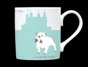 (Silhouette London Bull Dog & Guards Bone China Mug It Wasn T Me It Was The Corgis Stoke On Trent England Turquoise)