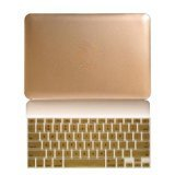 New Arrival! 2in1 Gold Champagne Frosted Matte Hard Case Cover (Cut Off/Out Logo) for Macbook Air 13