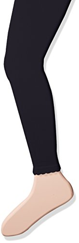 Jefferies Socks Little Girls' Cotton Footless Tights with Scalloped Edge, Navy Blue, 6-8 Years