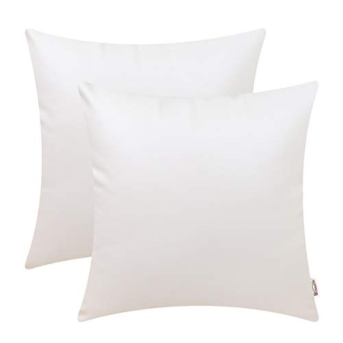 Brawarm Cozy Throw Pillow Covers Cases for Couch Sofa Bed Solid Faux Leather Soft Cushion Covers Durable Pillowcase Home Decoration Accent Both Sides 18 X 18 Inches Ivory White Pack of 2 ()