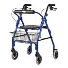 4 Wheel Rollator, Jazzy Blue, Soft Seat, Aluminum Rollator with Backrest