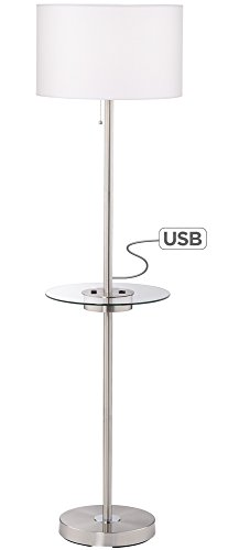 Caper Tray Table Floor Lamp with USB Port and Outlet (Lamp Chrome Lamp Table)