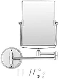 Ambrosya® | Exclusive cosmetic mirror made of stainless steel with 5x magnification | Bathroom Lamp Light LED Makeup Vanity Table WC (Stainless Steel (Brushed), 3X)