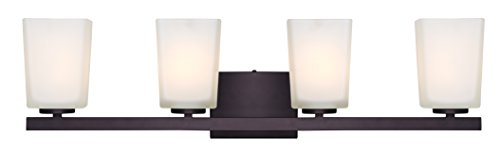 Canarm IVL472A04ORB Ltd Hartley 4 Light Vanity, Oil Rubbed Bronze with Flat Opal Glass by Canarm