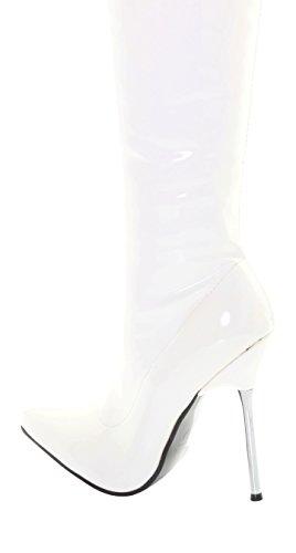 Tilly London Damen Damenstiefel Schritt Herrenstiefel Overkneestiefel über Das Knie Oberschenkel Hoch Hacke Stiletto Lackleder Strecken Elastisch Schuhe Breite Stiefel Schwarz Rot Weiß Weiß Über das Knie Länge