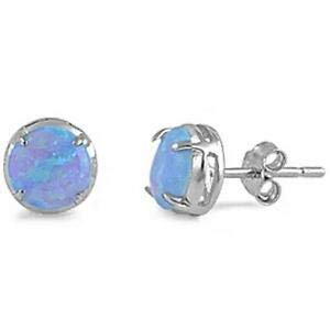 Round Shaped Light Blue Opal Stud 925 Sterling Silver Earrings Jewelry Accessories Key Chain Bracelet Necklace Pendants