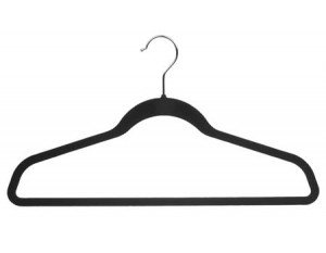 Slimline Ultra Thin (Slimline Ultra Thin Suit Hanger, Black Velvet Finish with Chrome Hardware, Box of 100 by The Great American Hanger Company)