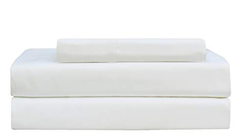 Cotton Craft - Ultra-Soft 400-Thread-Count Twin Size Sheet Set in White, Premium 100% Pure Combed Cotton, 3-Piece Sateen Bedding Set with 1 Deep-Pocket Fitted Sheet, 1 Flat Sheet & 1 Pillowcase
