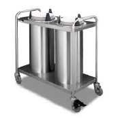 Mobile Lowerator Dispensers Two Tubes - APW Wyott Lowerator Trendline Mobile Two Tubes Heated Dish Dispenser, 7 3/8 to 8 1/8 inch China Size -- 1 each.