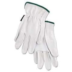 Grain Goatskin Driver Gloves, White, Medium, 12 Pairs