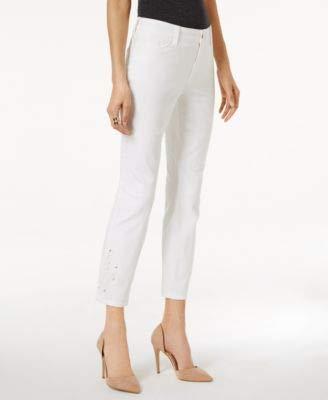 NYDJ Women's Alina Skinny Jeans, Optic White - Eyelet Embroidery, 18