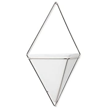 Umbra Trigg Hanging Planter Vase & Geometric Wall Decor Container-for Succulent, Air, Mini Cactus, Faux Plants and More, Large, White/Nickel