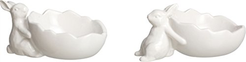 White Ceramic Bunny Egg Cup Holders - Set of 2 Assorted - Tray Bunny