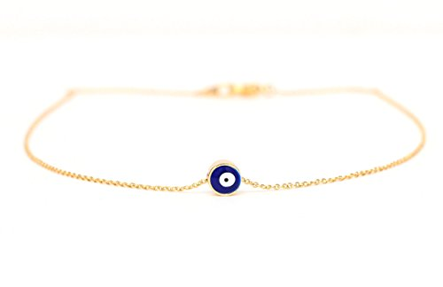 Navy Blue Evil Eye Necklace, Small Evil Eye Pendant on a 14k Gold Plated Delicate Chain