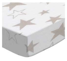 SheetWorld Fitted Bassinet Sheet 15 x 33 - Grey Stars Jersey Knit - Made in USA by SHEETWORLD.COM