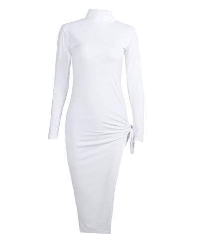 Xinheo Manches Longues Sexy Maigre Féminin Partie Moulantes Solide Blanc Robe Moulante