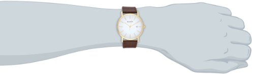 Bulova Men 97B100 Classic GoldTone Stainless Steel Watch With Brown Leather Band