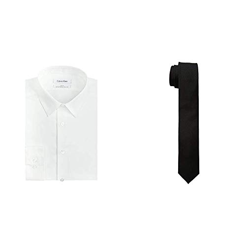 Calvin Klein Men's Slim Fit Non-Iron Herringbone Point Collar Dress Shirt and Skinny Oxford Solid Tie, White/Black, 16.5