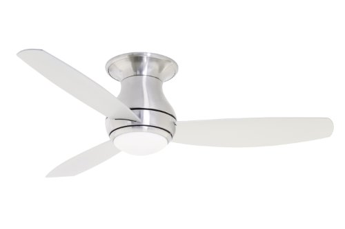(Emerson Ceiling Fans CF152BS Curva Sky 52-Inch Modern Ceiling Fan, Low Profile/Hugger Ceiling Fan With Light and Remote, Brushed Steel Finish)
