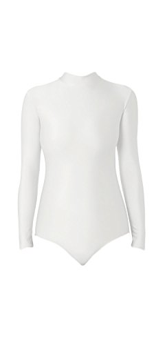 WOLF UNITARD Turtle Neck Leotard for Adult and Child Large (Long Sleeve White Leotard Girls Costumes)