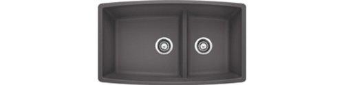 Blanco Performa 441474 1.75 Medium Bowl Low Divide SILGRANIT 80% Granite Undermount Kitchen Sink, Cinder, 10.00 x 19.00 x 33.00 inches, ()