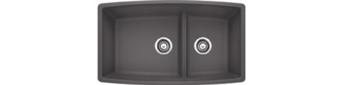 Blanco Performa 441474 1.75 Medium Bowl Low Divide SILGRANIT 80% Granite Undermount Kitchen Sink, Cinder, 10.00 x 19.00 x 33.00 inches, (Performa Bowl)