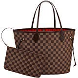 Leather House Woman Handbag Fashion Damier Color Canvas Tote Shoulder Very Popular Damier MM Brown(Red) 32x29x17cm