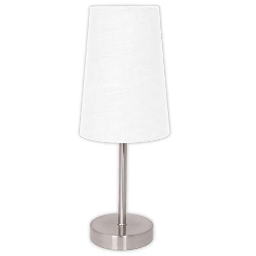 Light Accents Table Lamp - with White Fabric Shade - Bedside Lamp - Small Nightstand Lamp for Bedroom (Brushed Nickel)