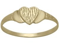 14 Karat Yellow Gold Heart Baby Ring - SIZE 4 by Elite Jewels