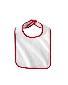 (Rabbit Skins Baby Terry Snap Bib (1003)- White/Red,One Size)