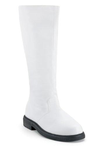 Funtasma Men's Captain-100/W/PU Knee-High Boot,White Polyurethane,11 M (Costume Boots Mens)