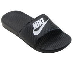 NIKE Women's Women's Benassi Just Do It Athletic Shoe, black/white, 10 Regular US by NIKE